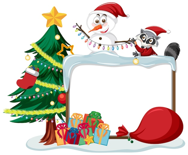 Empty christmas board with cartoon characters and objects