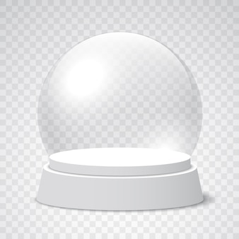 Empty christmas snow globe on transparent background. glass sphere.  illustration.