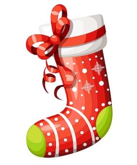 赤の弓と空のクリスマスのストッキング。白い毛皮とパッチの装飾的な赤い靴下。クリスマスのイラスト。白い背景の上。