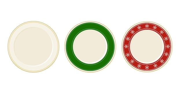Empty christmas vector plates set in cartoon style top view with snowflakes. tableware design elements