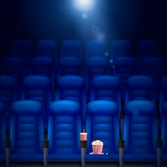 Empty cinema hall realistic background