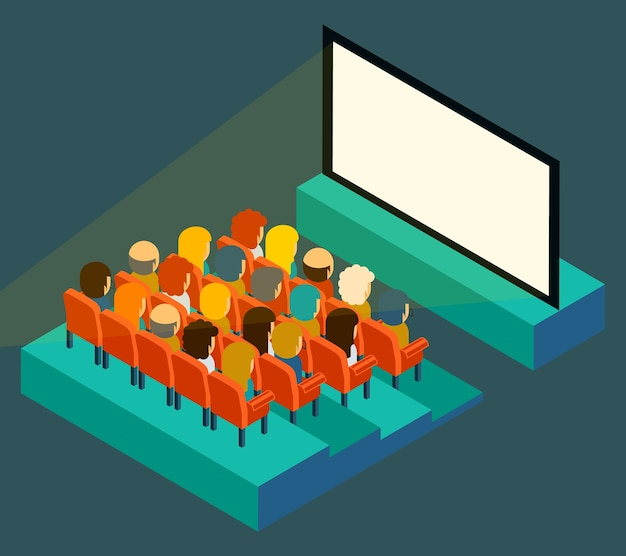 Пустой экран кинотеатра с аудиторией в плоском стиле и изометрической проекции