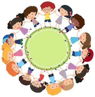 Empty circle banner with many kids holding hands cartoon style isolated