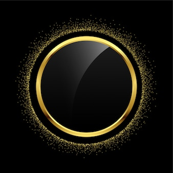 Empty circle golden glitter frame background