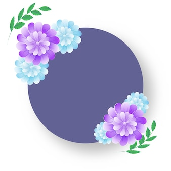 Empty circular frame with glossy flowers and green leaves on white background.