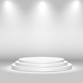 Empty circular stage with lights