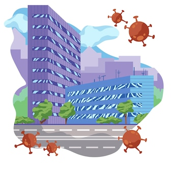 유행성 바이러스로 인한 빈 도시