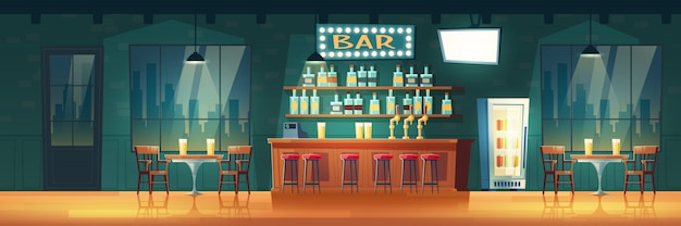 Empty city bar or pub at evening cartoon  retro interior