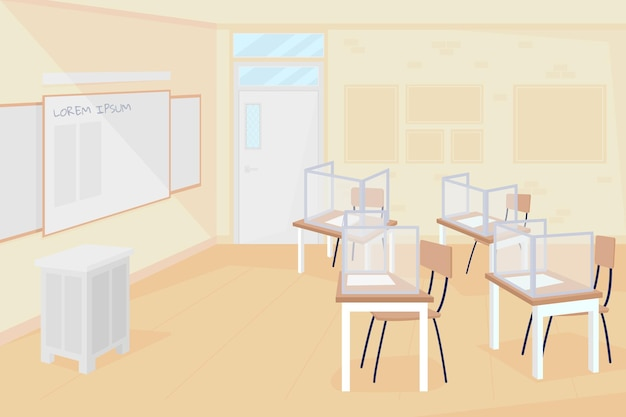 Empty class at school flat color vector illustration