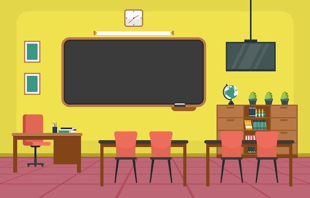 空の教室インテリア教育小学校クラス誰もイラスト