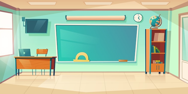 Empty classroom interior, school or college class