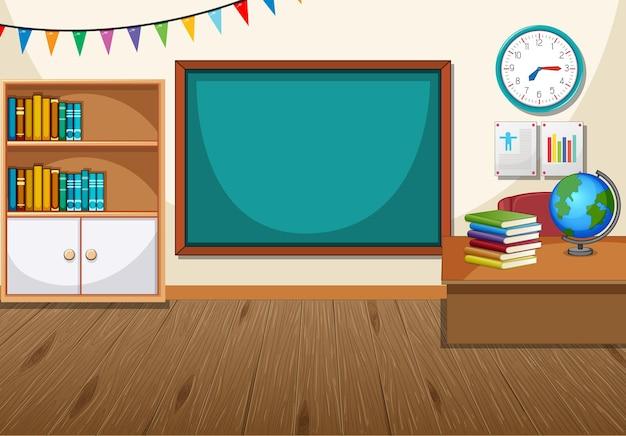 Empty classroom interior with chalkboard