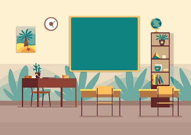 空の教室。黒板のある学校の教室はありません。