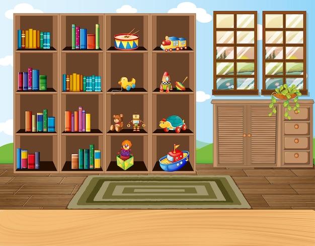 Scena dell'aula vuota con decorazioni d'interni e oggetti