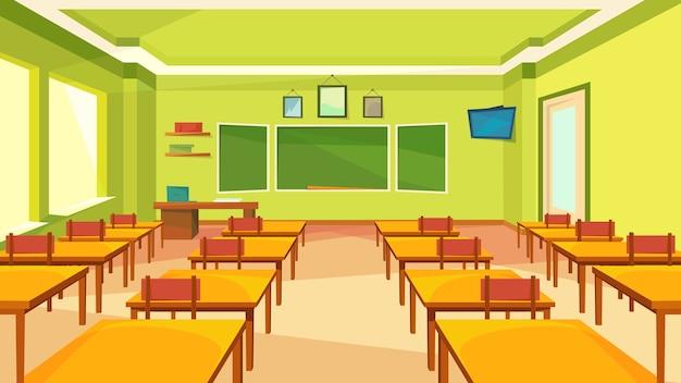 Пустой класс с доской. классический школьный интерьер.