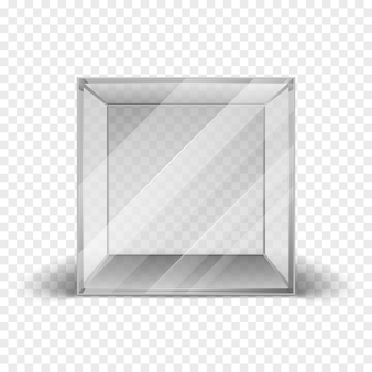 Empty clean glass box cube showcase isolated on checkered background. Mock up clean frame for galler
