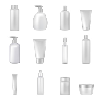 Empty clear cosmetics bottles jars tubes sprays dispensers for beauty and health products realistic