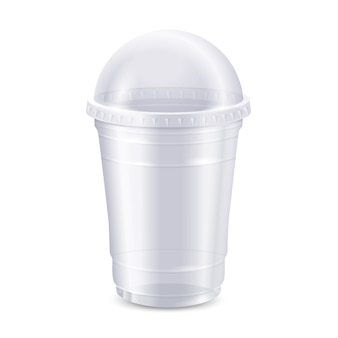 Empty clear disposable plastic cup with lid