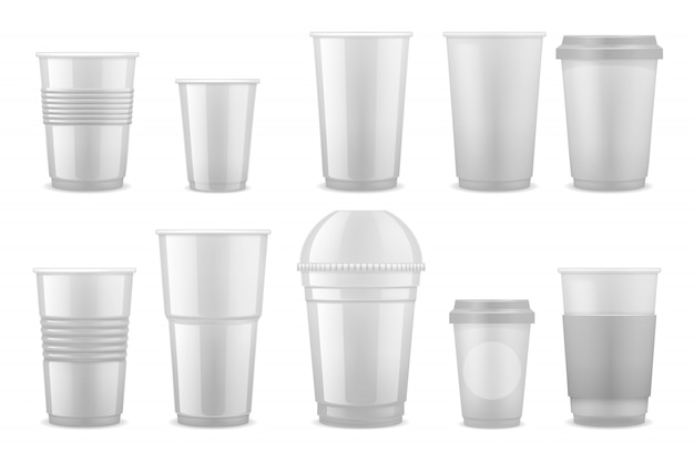 Empty clear white plastic disposable cups, takeaway containers