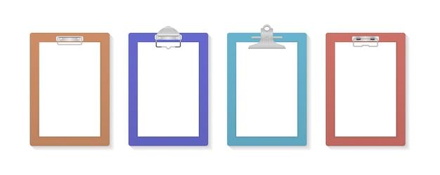 空白の白い紙シートイラストと空のクリップボード