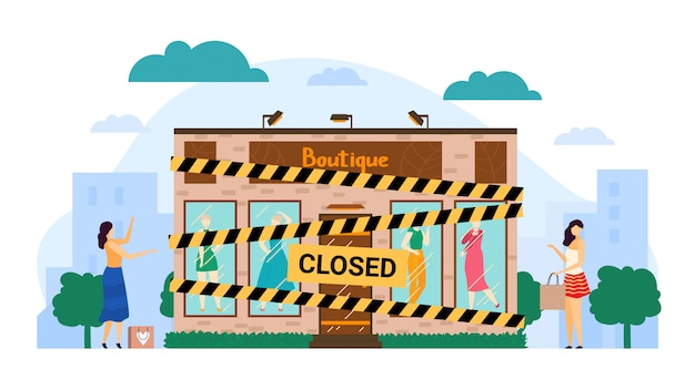 Empty closed bankrupted boutique illustration, cartoon flat store building with yellow black bankrupt closing tape isolated on white