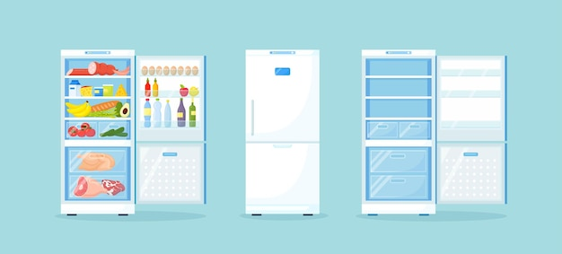 Empty closed and opened refrigerator with different healthy food fridge in kitchen freezer with meat on shelves