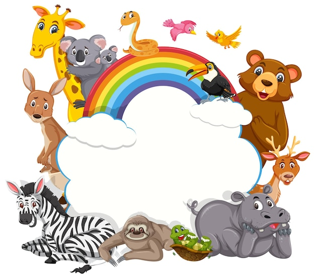 Empty cloud banner with various wild animals