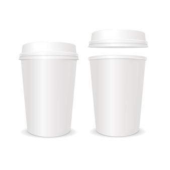 Empty coffee paper cup with lid set. for business