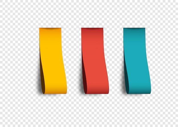 투명 한 배경에 고립 된 그림자와 함께 빈 색 레이블. 컬렉션 현실적인 라벨 스티커.