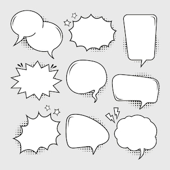 Empty comic bubbles set with the halftone effect shadow
