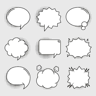 Empty comic bubbles set