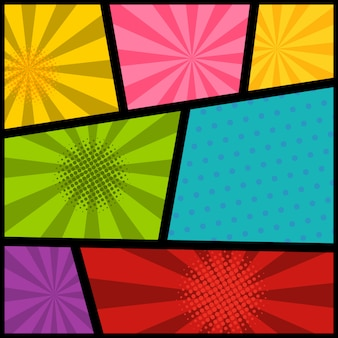 Пустой макет страницы комиксов с цветным фоном. элемент для плаката, открытки, печати, баннера, флаера. образ