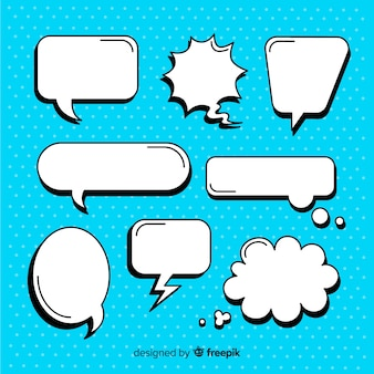 Empty comic speech bubble set