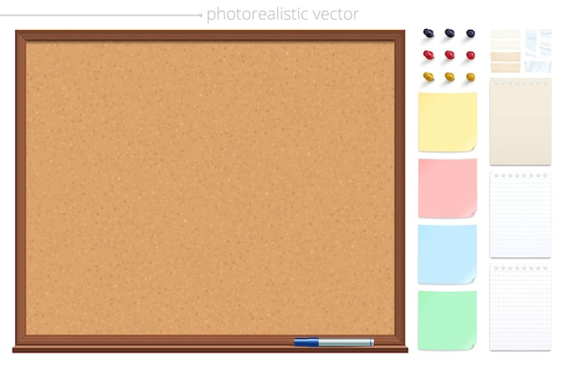 Empty cork bulletin board and set of thesticky notes pins and adhesive tapes