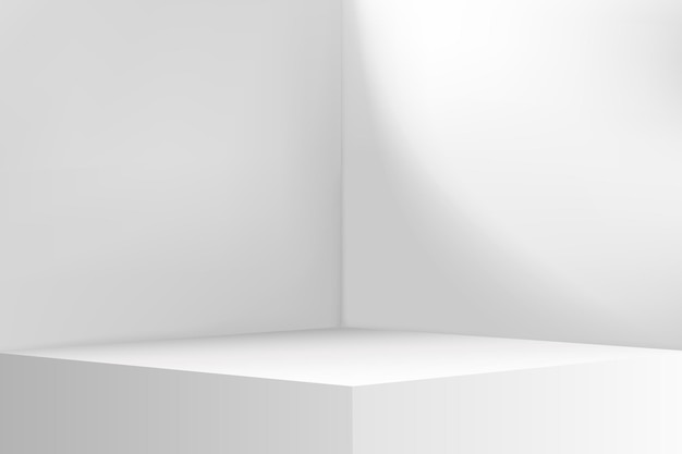 部屋の空のコーナー。ホワイトルームの内部空間。