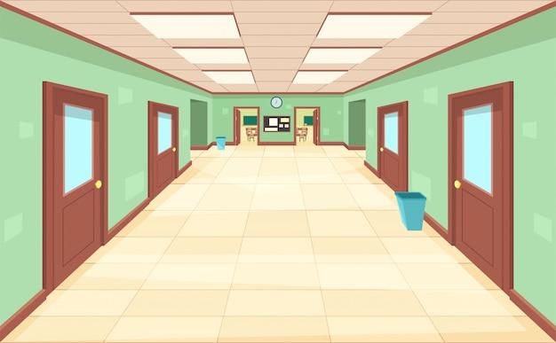 Пустой коридор с закрытыми и открытыми дверями