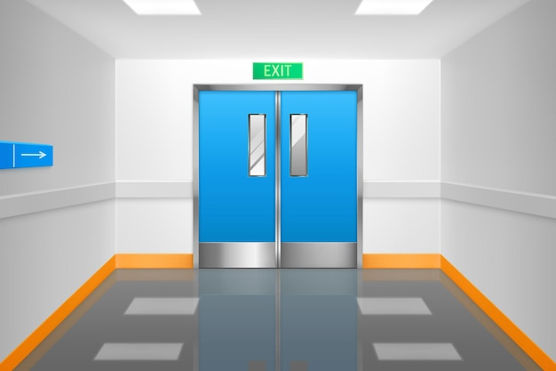 Corridoio vuoto con doppie porte e segnale di uscita in ospedale o in laboratorio