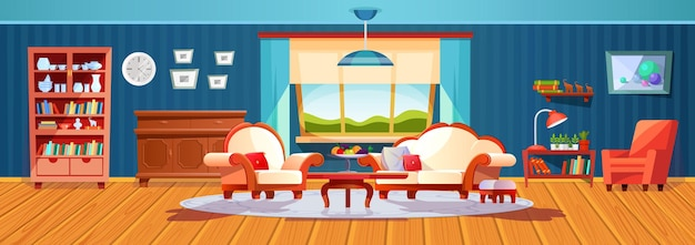 窓越しに夕方の冬の風景と空の居心地の良いリビングルームのレトロなインテリア。ソファ、テーブル、カーテン、食器棚、アームチェアのベクトル漫画と快適な家具住宅アパート