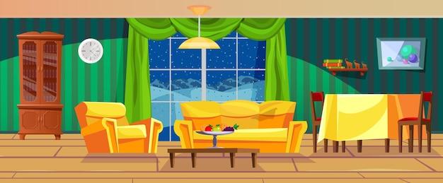 窓越しに夕方の冬の風景と空の居心地の良いリビングルームのレトロなインテリア