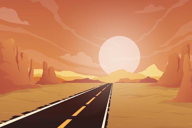 La strada di campagna deserta e il sole tramonta nel cielo. montagne rocciose fiancheggiate su entrambi i lati, illustrazione in stile cartone animato