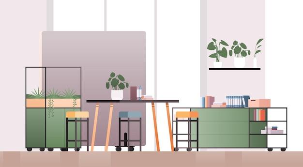 空のコワーキングセンターモダンなオフィスルームインテリアクリエイティブなオープンスペース家具水平イラスト