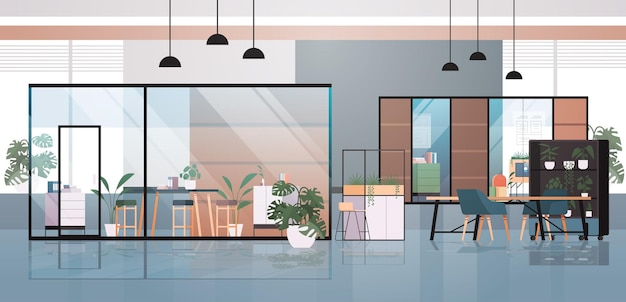 Пустой коворкинг центр современный интерьер офисной комнаты творческое открытое пространство с мебелью горизонтальная иллюстрация