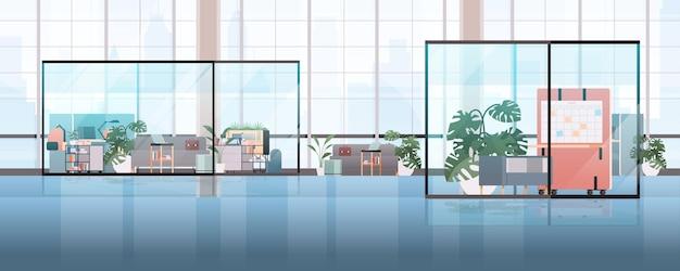 가구 수평 일러스트와 함께 빈 coworking 센터 현대 사무실 룸 인테리어 창조적 인 열린 공간
