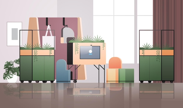 가구 가로 일러스트와 함께 빈 coworking 센터 현대 사무실 룸 인테리어 열린 공간