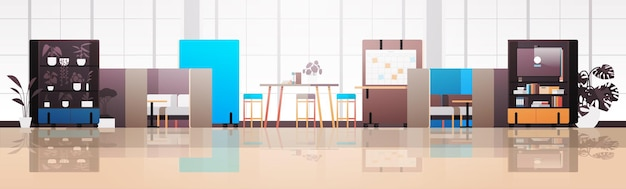 Empty coworking center modern office room interior open space with furniture horizontal illustration