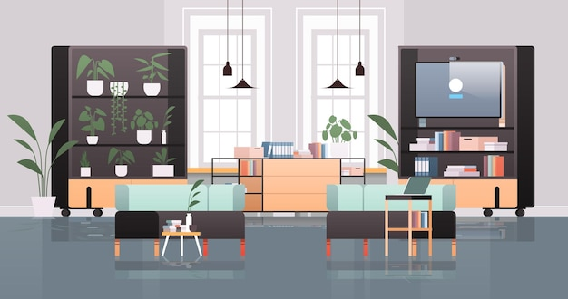Empty coworking center with tv screen modern office room interior open space with furniture horizontal illustration