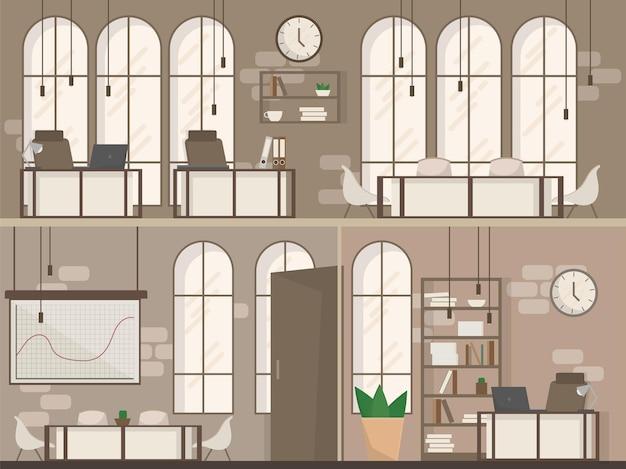 Empty coworking space interior modern coworking office creative workplace space two floors flat vector illustration
