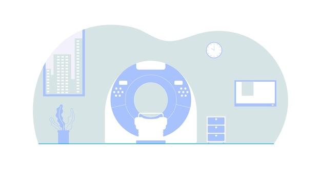 Empty ct scanner room flat design