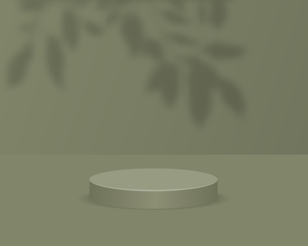 Empty cylinder podium on green background with shadow overlay. abstract minimal scene with geometric shape object. 3d