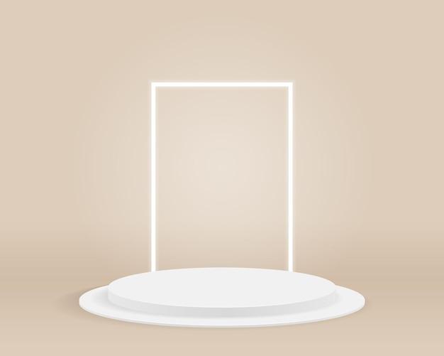 Подиум пустой цилиндр на минимальном фоне. абстрактная минимальная сцена с геометрическими формами. дизайн для презентации продукта. 3d иллюстрации.